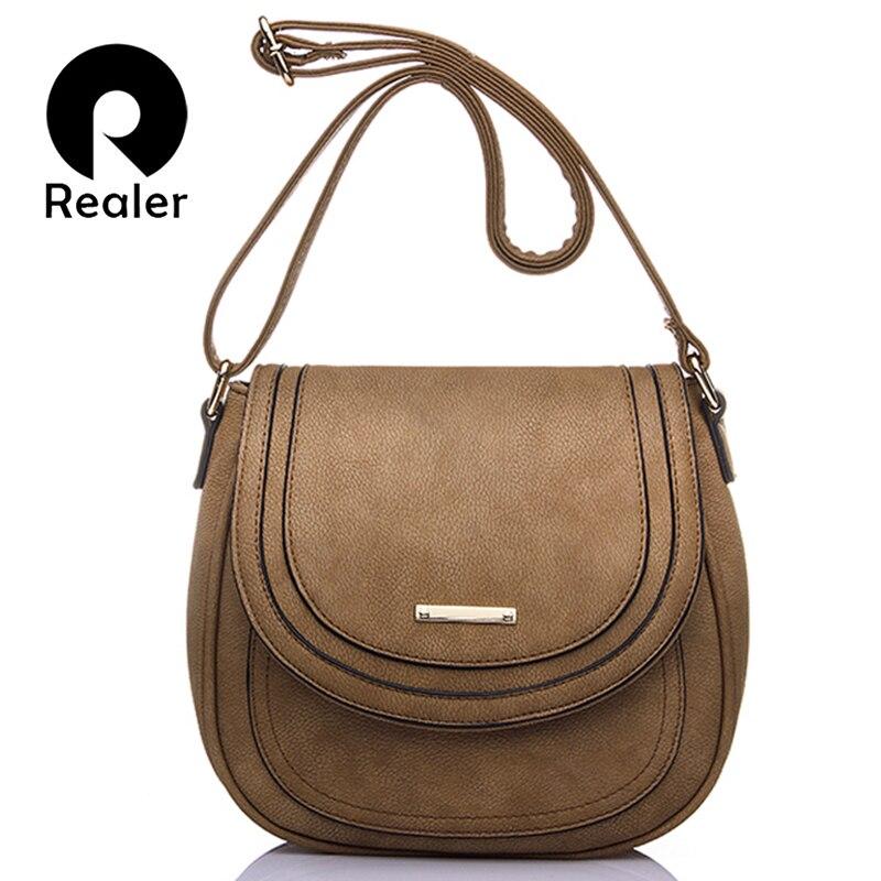 Realer kadın çanta küçük pu deri messenger çanta kadın omuz Crossbody Çanta moda kılıf kadın öğrenci siyah bayanlar çanta