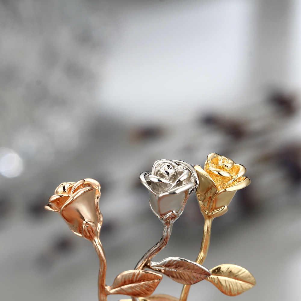 Moda 2018 nowy różowy złota róża naszyjnik kwiatowy dziewczyna Party komunikat naszyjnik kobiety na co dzień sukienka urok Maxi Choker biżuteria Boho