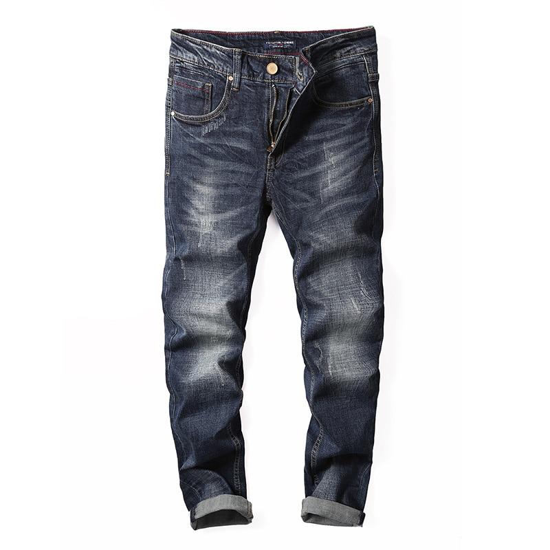 2017 Autumn Fashion Men's Jeans Dark Blue High Quality Straight Fit Vintage Jeans Men Denim Pants Balplein Brand Ripped Jeans велосипед altair city high 28 19 2015 dark blue
