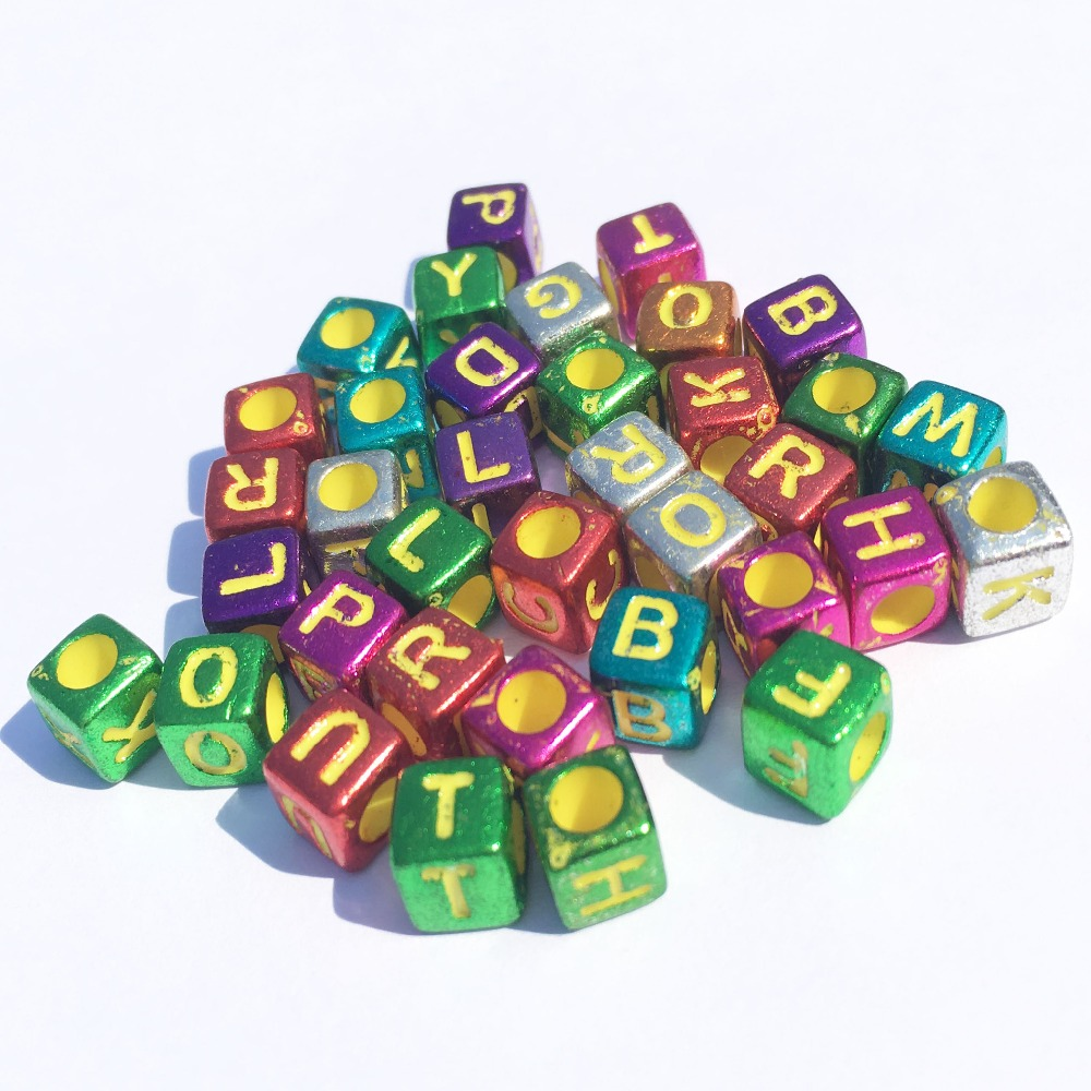 Beads & Jewelry Making Trendy New Cube Acrylic Letters Beads 3000pcs 500pcs 6*6mm Uv Assoted Colors With Gold Color Enligsh Character Square Diy Beads Choice Materials