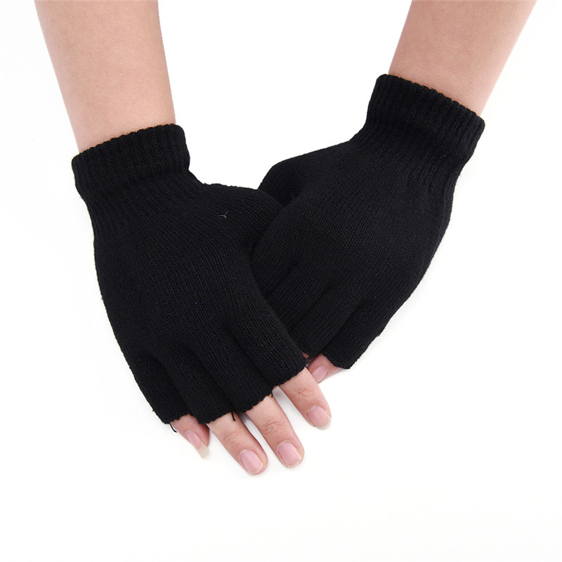 Back To Search Resultsapparel Accessories 18 Cm Wool Knit Wrist Glove Black Short Half Finger Fingerless Winter Warm Workout For Women And Men