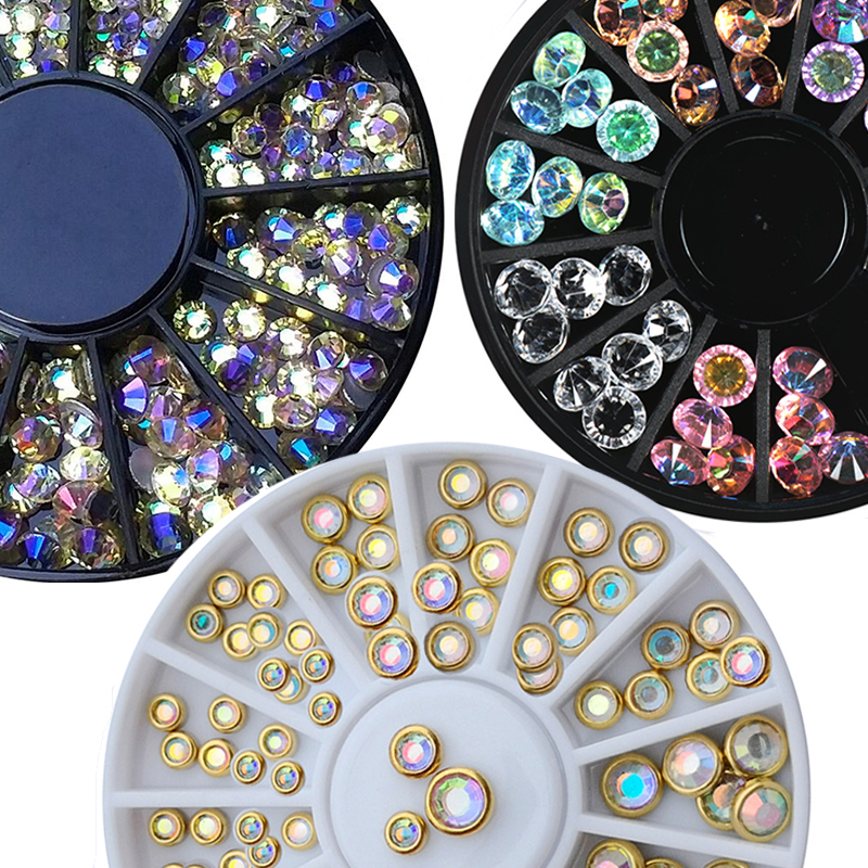 1mm 2mm 3mm mixte caméléon cristal paradis pierre ongles strass dans la roue pour acrylique/verre manucure 3D ongles perles strass