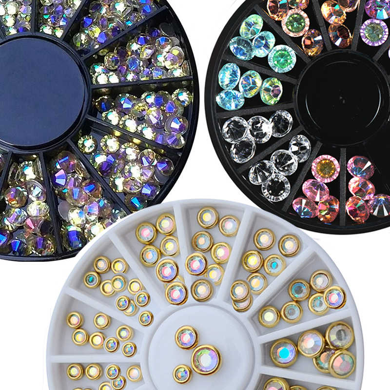 1 Mm 2 Mm 3 Mm Gemengde Kameleon Crystal Paradise Stone Nail Strass In Wiel Voor Acryl/Glas Manicure 3D Nail Kralen Strass