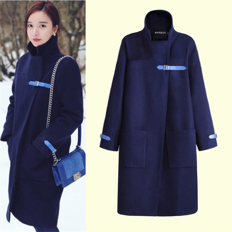 Brand Design Winter Coat Women Navy Blue Warm Long Wool Coat Women's Pockets Cashmere Coat European Fashion Jacket Outwear