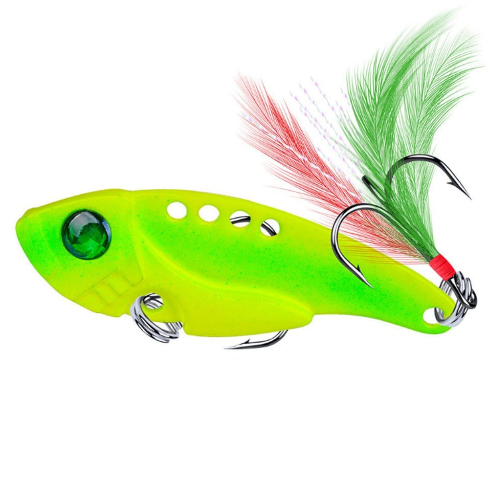 1pcs Metal VIB 11g/5.5cm Fishing Lure Vibration Spoon Hard Baits With Feather Crankbait Wobbler Swimbait Cicada VIB Tackle