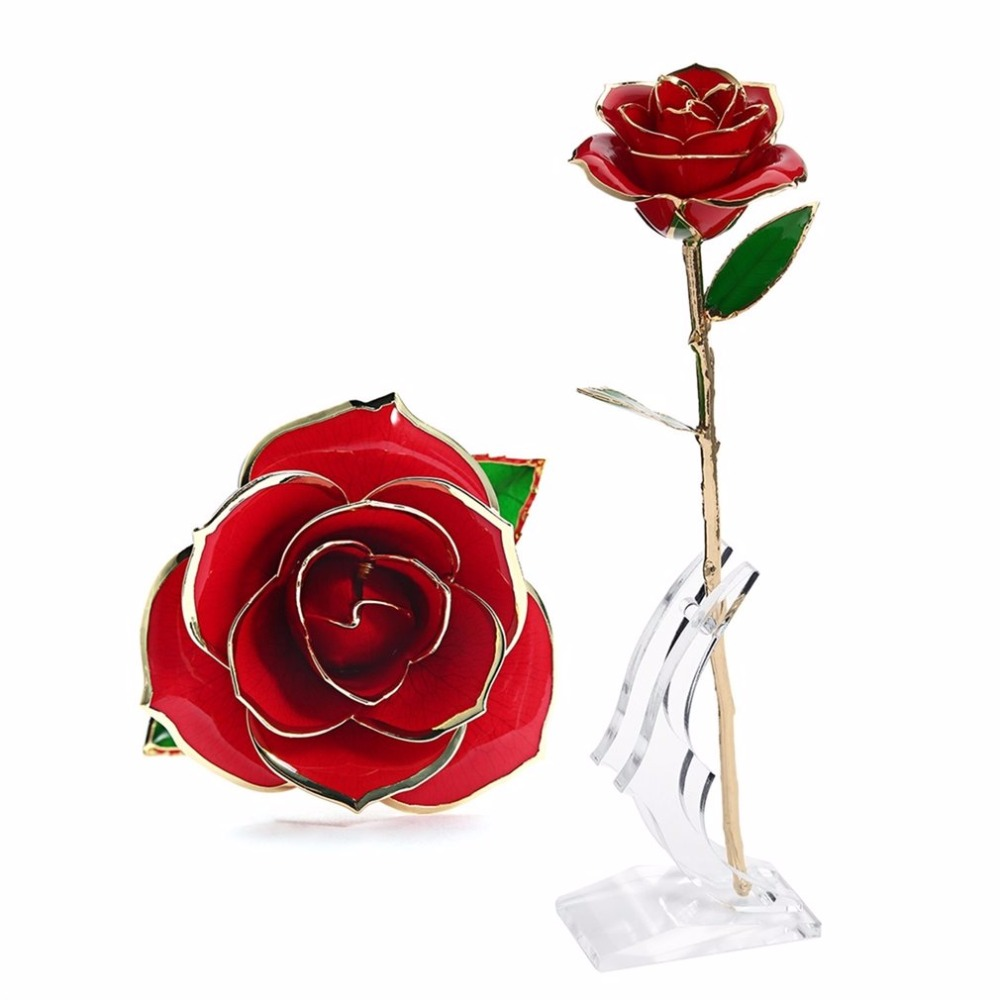 Love Forever Long Stem 24K Gold Foil Trim Rose Flower With Bracket for Valentine's Day & Mother's Day & Anniversary & Birthday