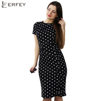 Women Dress Summer Frill Asymmetircal Work Bussiness Pencil Dot Dresses Knee Length Fashion Plus Size 4XL