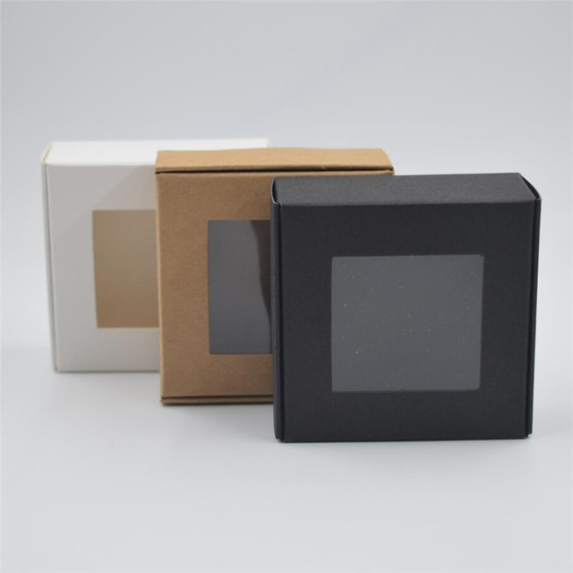 Us 5 8 12 Off 10pcs Blank Small White Black Soap Cardboard Paper Boxes Black Krfat Paper Craft Box Candy Gift Packaging Box With Pvc Window In Gift
