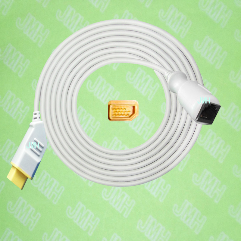 Compatible with Nihon Kohden BSM3200 41005100951098001500 the Abbott IBP transducer Adapter cable,14pin to 6pin.