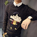 Winter and spring men's clothes embroidery cartoon patch mixed woven pullovers sweater thickened.