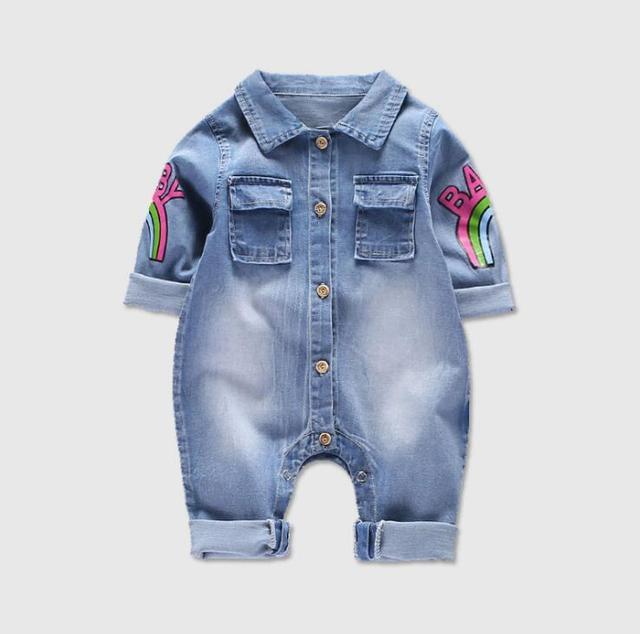 46c376f45a8a Soft Denim Baby Romper Graffiti Cat Infant Clothes Newborn clothes Jumpsuit  Babies Boy Girls Cowboy Jeans Children boys pants