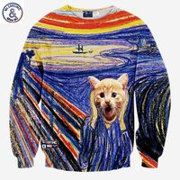 Andy Hot Model Men Women New Designed Hoodies Funny Print Animals Cat Colorful Striped 3d