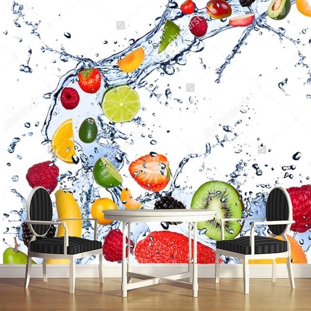 Fruit Wallpaper,Fresh Fruits Falling In Water Splash,3D Modern For Kitchen  Dining Room Cafe Shop Background Wall Silk Mural