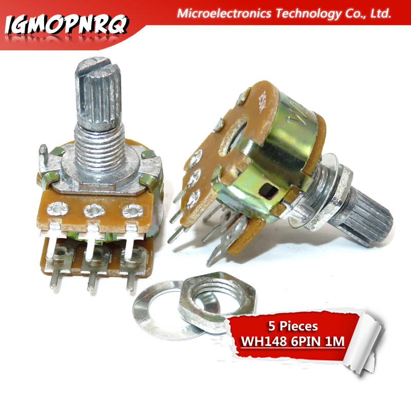 5pcs <font><b>WH148</b></font> <font><b>6PIN</b></font> B1M Dual Stereo Potentiometer 1MOhm shaft 15mm Pot 1M Ohm R image