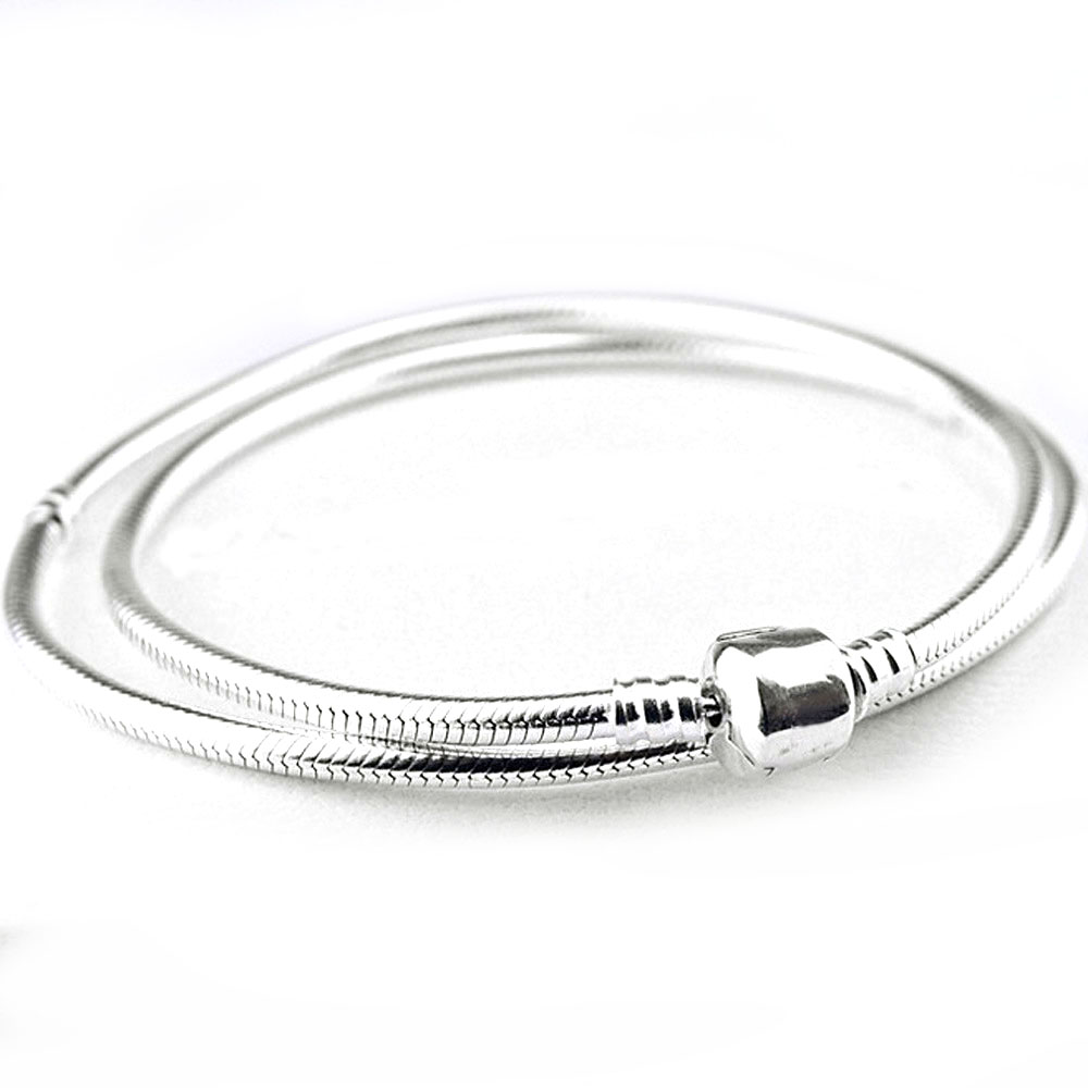 Barrel Clasp 45cm-50cm Silver Plated Necklace Barrel Clasp Snake Chain Necklace For Women fit Lady Jewelry Bead Charm