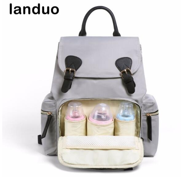 LAND Diaper Bag Fashion Mummy Maternity Nappy Bag Travel Backpack Designer Stroller Baby Bag Leather Buckle Style все цены