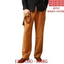 ฤดูร้อนของผู้ชายฤดูใบไม้ร่วงกางเกงผ้าลินินผ้าฝ้าย XL 7XL 8XL ขนาดใหญ่กางเกง 9XL 10XL 12XL 52 54 56 จีนสไตล์ญี่ปุ่น