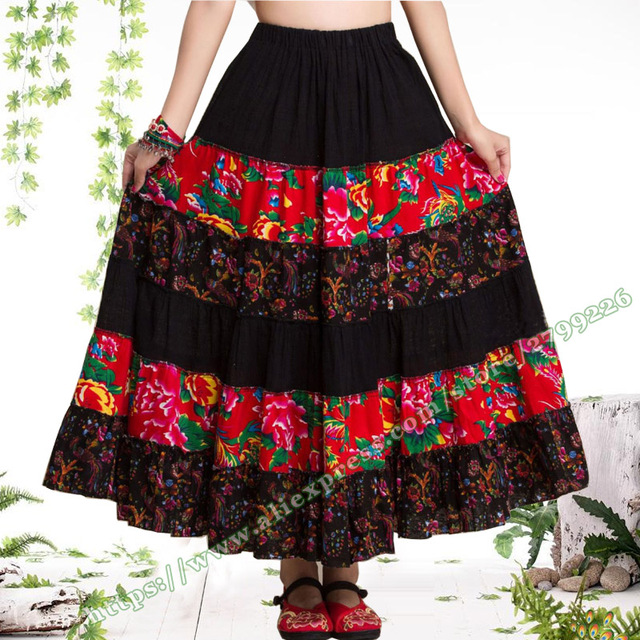 790ccd6070 US $24.5  Pastoral Style Cotton Flax Floral Stitching Casual Long Skirts /  Novel Gypsy Bohemia BOHO Spain pleated Maxi skirts for Womens-in Skirts ...