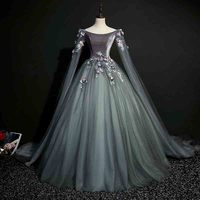 Dark Grey Deluxe Formal Evening Party Dress Ball Gown 18th Medieval Victorian Retro Queen Cos Costume For Lady Plus Size 5XL 6XL