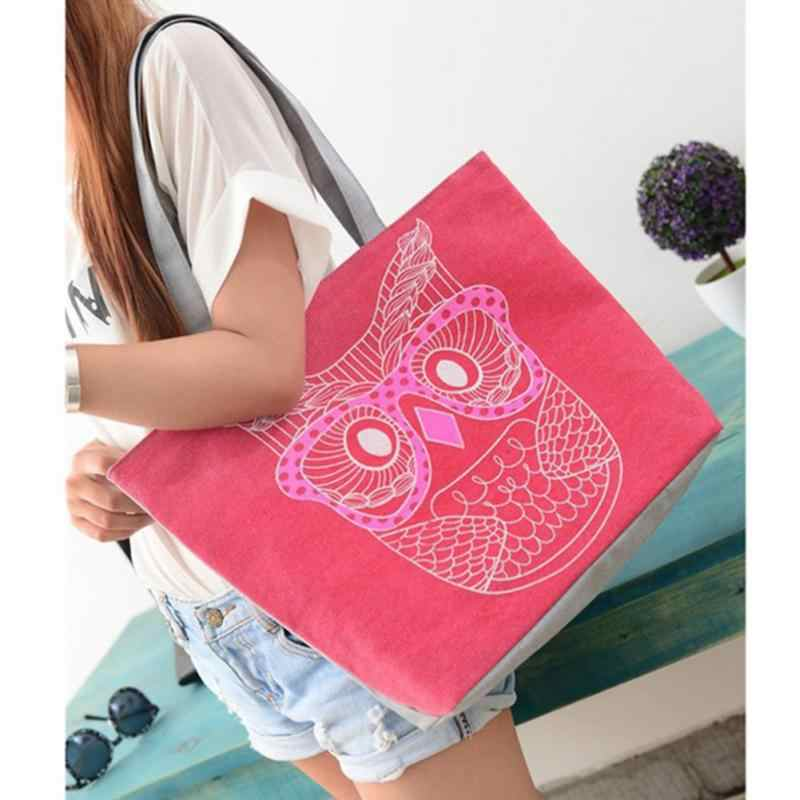 359a4f89e8d4 Detail Feedback Questions about 2018 Women Canvas Shopping Bag Cute Cartoon  Owl Pattern Tote Female Daily Use Grocery Bag Eco friendly Beach Bag for  Ladies ...