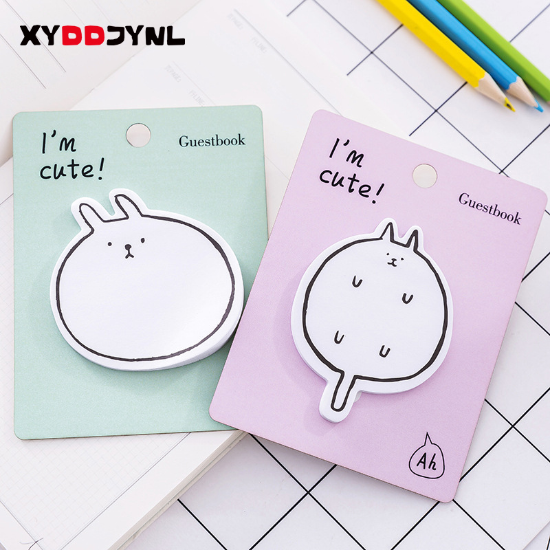 2pc/60pages Animal Design Memo Pad Novelty Sticky Note Kawaii Stationery Office Message Paper Flags Sticky Notes Stickers Paper