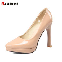 Asumer high quality shoes women fashion pointed toe simple slip on popular stiletto high heels platform shoes pupms for women