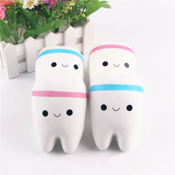 11cm Cute Cartoon Tooth Pendant Squishy Toy Squishy  Hand Spinner Teeth Soft Squeeze  slow rebound decompression Toy Gift jumbo squishy big tooth clockwork toy