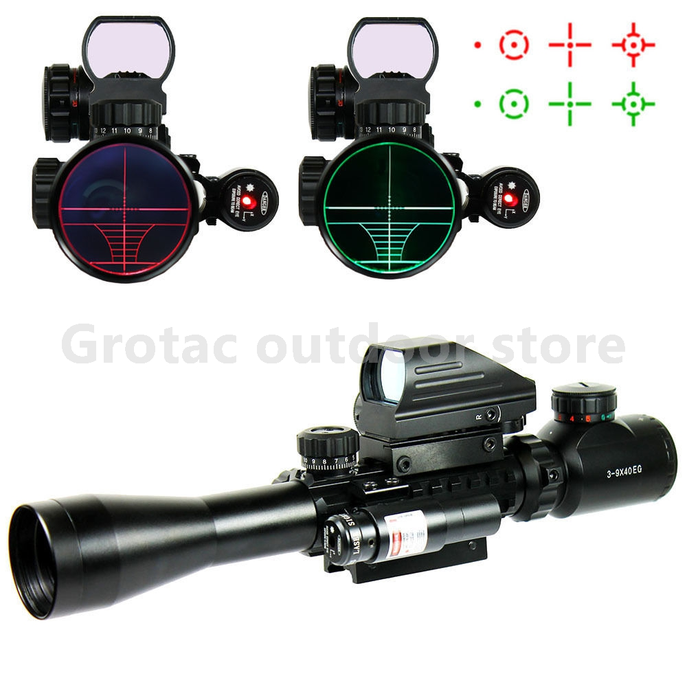 3-9X40 Hunting Optics Riflescope Red/Green Dot Laser Illuminated Sight Scope Chasse Tactical Rifle Airsoft Air Guns Rifle Scopes 3 9x40 tactical hunting 3 in 1 combo rifle scope with red laser