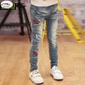 New 2017 Children girl's Pants Denim fabric Embroidery and Vintage Holes Process kids Jeans For 3-15 year wear