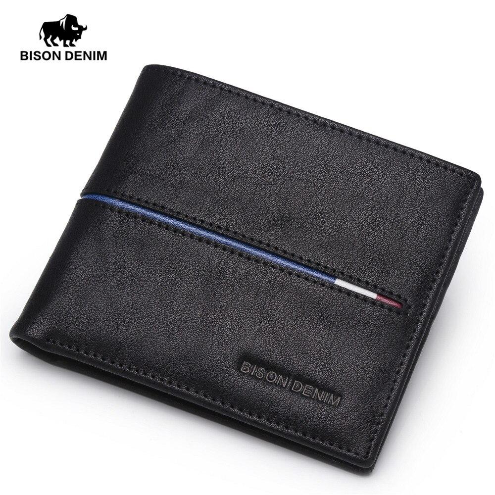 BISON DENIM Echtem Leder Brieftasche Männer Marke Mode Kurze Design Geldbörsen Männlichen Geschenk ID Kreditkarte Halter Schlank Bifold Brieftasche männer