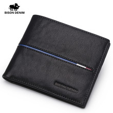 ФОТО bison denim genuine leather wallet men brand fashion short design purses male gift id credit card holder slim bifold wallet men