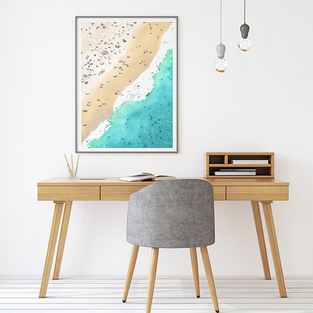 Nordic Canvas Art Print Drone Beach Photography Coastal Ocean Water Photo Wall Printable Large Poster