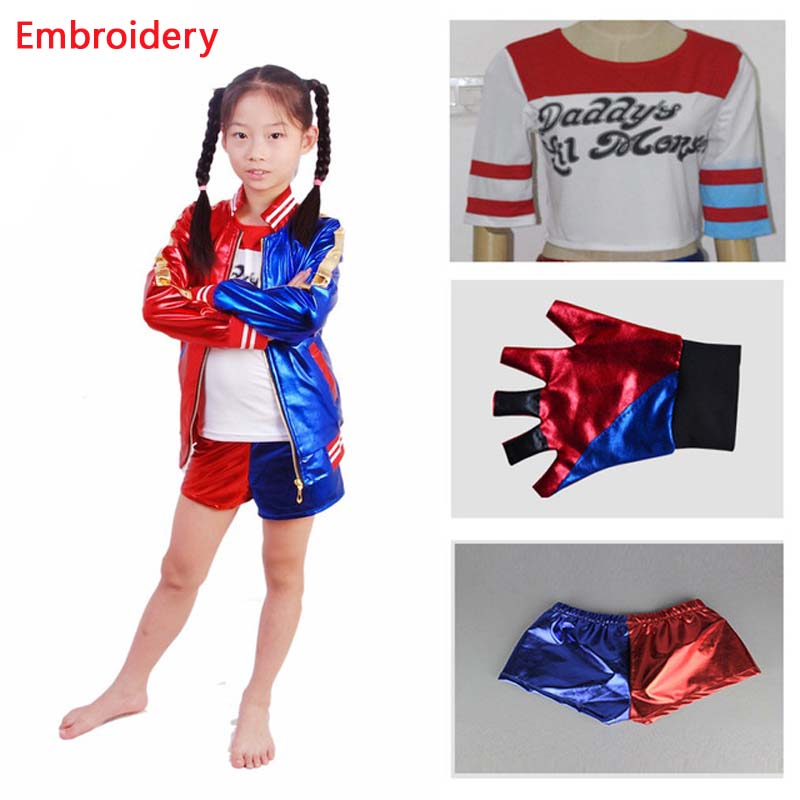 4 pcs Suicide Squad Kids Halloween party Cosplay Harley Quinn Costumes carnival costume embroidery Jacket+T shirt+Shorts+Glove