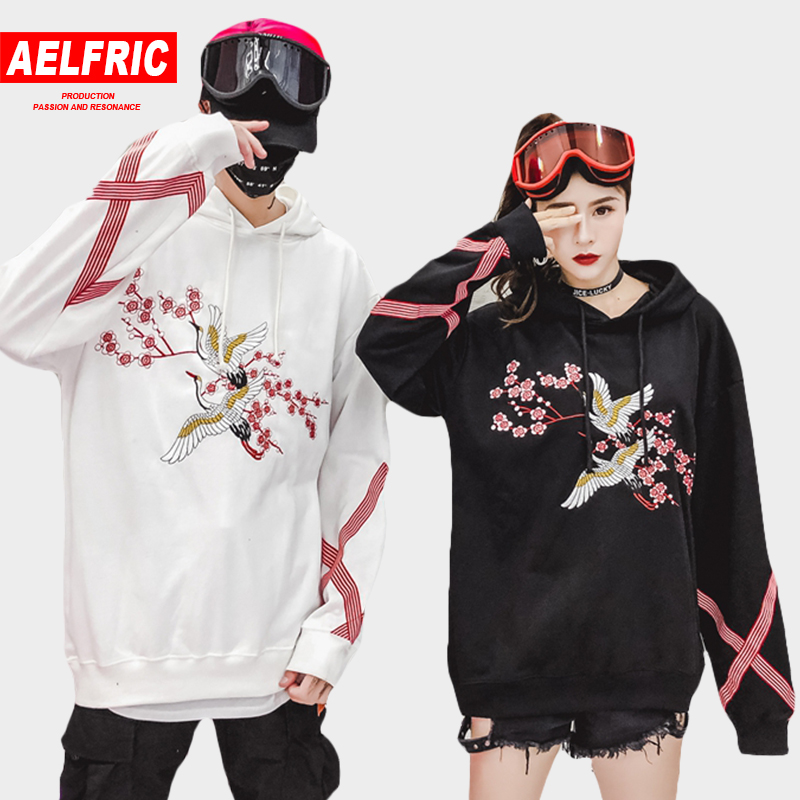 AELFRIC Flower Animal Embroidery Pullover Hoodie Men Chinese Style Casual Hoodies Sweatshirts Fashion Hip Hop Streetwear QA06