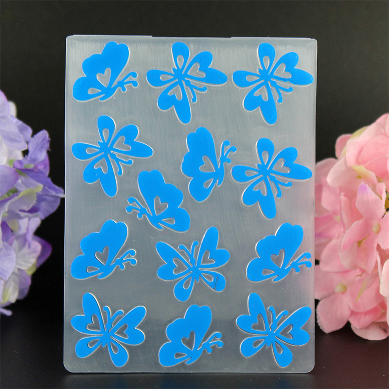 YLEF010 butterfly Plastic Embossing Folder For Scrapbook Stencils DIY Album Cards Making Decoration Craft Template Mold 7 5 10cm in Embossing Folders from Home Garden