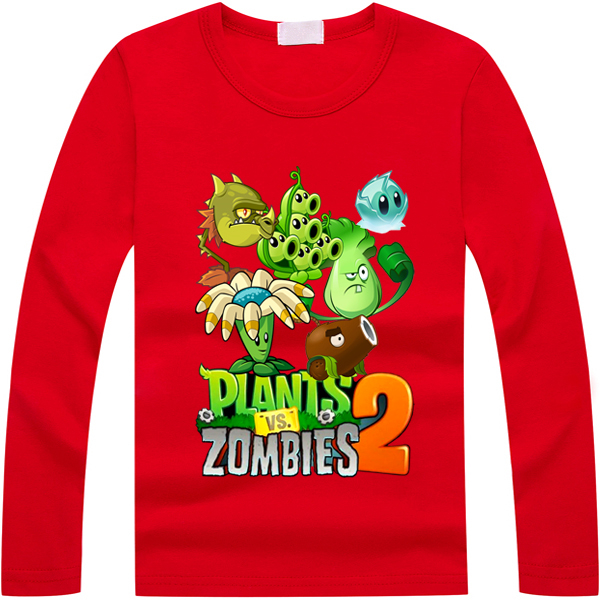 Plants Vs Zombies Baby Boy Clothes 2-11Y Quality Spring Autumn Casual Vetement Garcon Kids Clothes Toddler T-Shirt kids Clothing