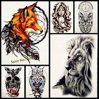 6152c432fc820 1PC Latest 3D Fox Designs Flash Waterproof Tattoo Women Body Art Sleeve  Tatoo GHB-358 Feather Totem Armband Men Tattoo Stickers