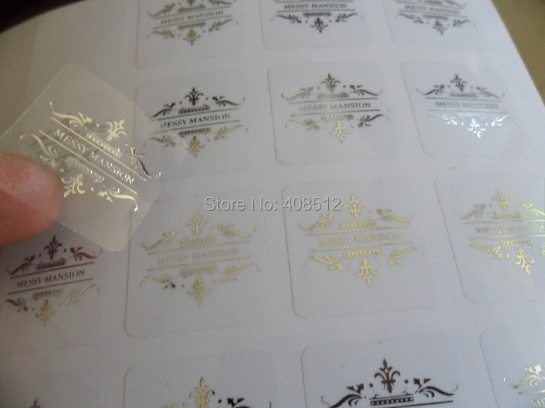 Custom logo silver gold red purple blue stamp print on transparent clear pvc label metallic foil sticker printing in stationery sticker from office