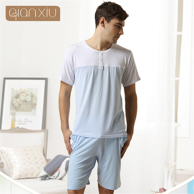 Qianxiu mens pyjama Short sleeve shorts sleepwear Cotton home Lounge Wear men pajama sets Stripe pijama masculinos onesie men
