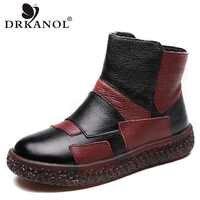 DRKANOL Winter Women Snow Boots Genuine Leather Warm Plush Ankle Boots For Women Warm Shoes Mixed Colors Women Platform Boots