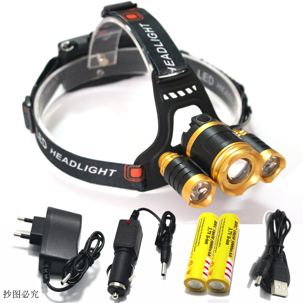 3 CREE XM L T6 led headlamp headlight 10000 lumens led head lamp camp hike emergency