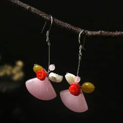 Amxiu ручной работы полудрагоценные камни серьги 925 пробы серебряные Charoite в виде ракушки цветок украшения для вечерние партии Bijoux