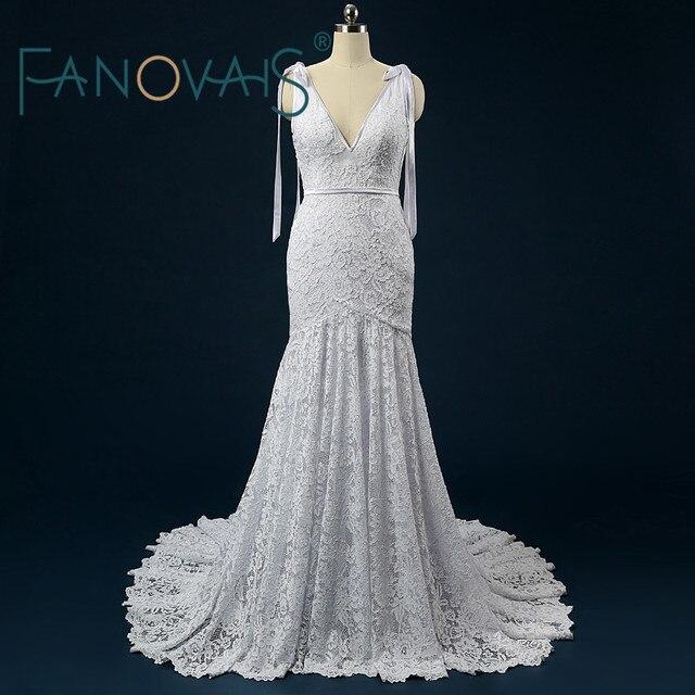 Sexy Backless Brautkleider Strand Boho Lce Hochzeit Kleider mit ...