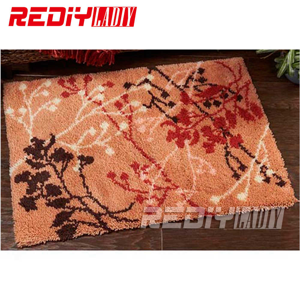 DIY Karpet Merah Hitam Selimut Putih Kait Karpet 3D Merajut Permadani Benang Akrilik Cushion Set Untuk Bordir Lantai mat