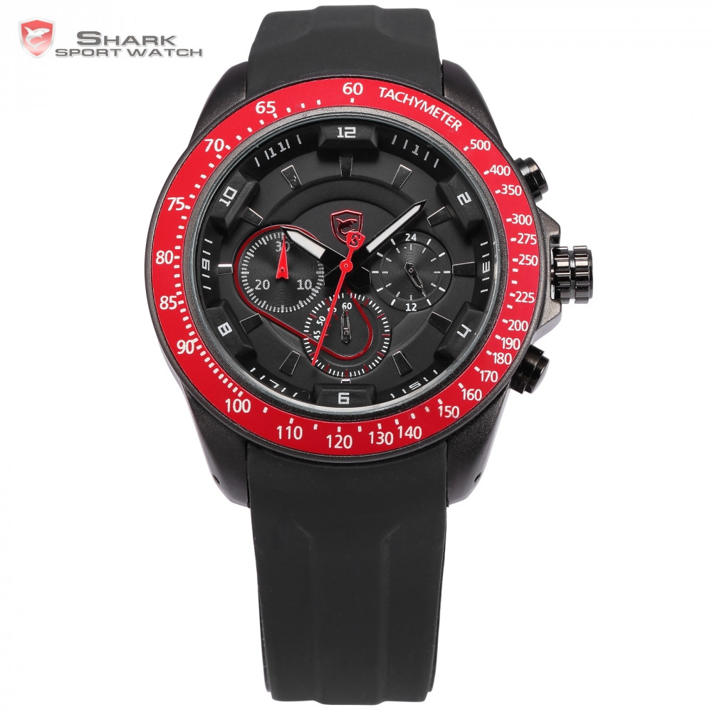 Snapper Shark Sport Watch Stainless Steel 24 Hours Black Red Male Clock Analog Military Quartz Montre Homme Men watch / SH280 snapper shark sport watch stainless steel 24 hours black red male clock analog military quartz montre homme men watch sh280