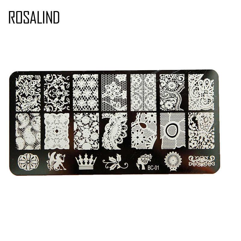 ROSALIND lastik damga tırnak damgalama plakaları Stamper kazıyıcı ile Cap şablonu tüm manikür üst jel damga nail sanat