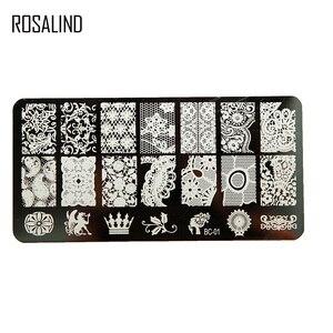 Image 4 - ROSALIND pieczątka do stemplowania paznokci skrobak Stamper z szablonem Cap wszystko do manicure Top żelowy stempel do zdobienia paznokci