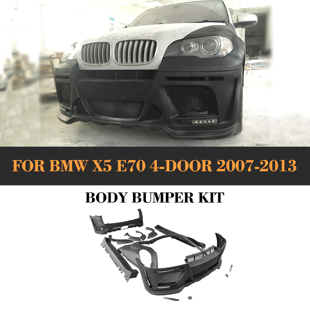 car body kits auto bumper body kit for BMW X5 Standard 07-17 E70 4-Door 2007-2013 HM Style / F15 2014-2017 M Style FRP Black car styling frp auto body kits bumper for bmw e70 x5 2008 2013