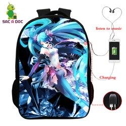 16 Cal ładowarka Usb Plecak Miku Hatsune drukuje torba szkolna dzieci plecaki szkolne dla dzieci Plecak dziewczyny Plecak podróżny Plecak Szkolny 5