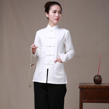 Long Sleeve Cotton Traditional Chinese Clothes Tang Suit Top Women Kung Fu Tai Chi Uniform Shirt Blouse Hanfu femal pure costume embroidered tai chi suit kung fu performance clothing women morning exercise costume suits tops pants chiffon cardigan